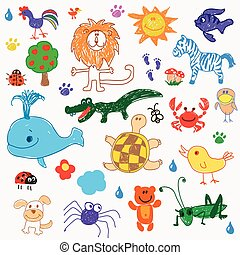 Childrens drawing doodle animals trees. vector illustration