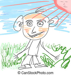 Children's drawing. Man on a green meadow against the blue ...