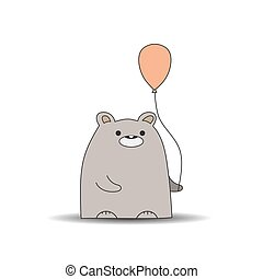 Children's drawing of a bear with a ball. Simple vector illustration.