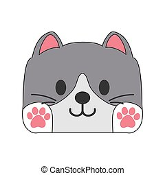Children's drawing of a cute kitten. Simple vector illustration.