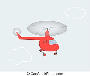 Children's drawing of a helicopter flying in the sky. Vector illustration.