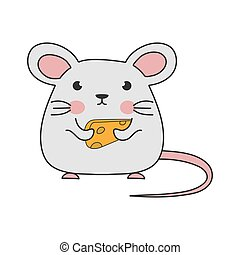 Children's drawing of a mouse with cheese. Simple vector illustration.