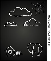 childrens drawing of clouds in chalk