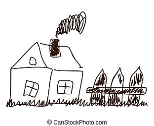 Children's drawing of the house and fence. A vector illustration