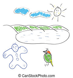 Children's drawing the sun a bird and the boy