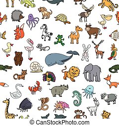 Childrens drawings doodle animals seamless pattern. Crocodile and rhinoceros, pelican and frog, squirrel and bear, monkey and crab, cobra and whale. Childrens drawings animals or zoo pattern vector illustration