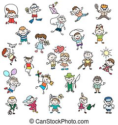Childrens drawings of doodle people. Children girl and boy...