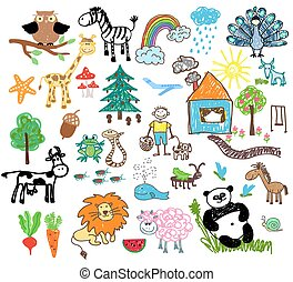 Childrens drawings of people and animals, houses and trees