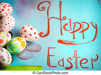 Children's Easter pattern with eggs, concept of holidays
