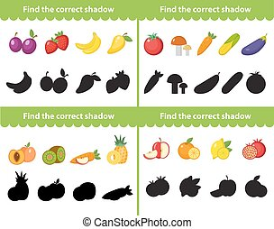 Childrens educational game, find correct shadow silhouette. Items for the right shade. Vector illustration