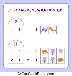 Children's educational game. Studying numbers. Numbers two and three of which consist. With colorful drawings of butterflies and flowers. For the little ones.