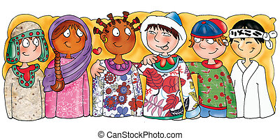 Children's ethnic nationalities, diversity, equality, fraternity, different clothes, fabrics, color, customs