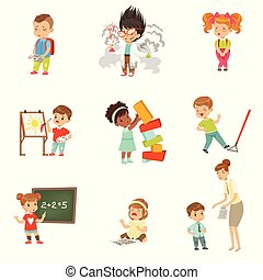 Childrens failures and mistakes set, frustrated little kids experiencing their failures vector Illustrations on a white background