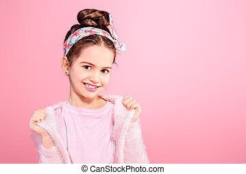 seven year old girl - Children's fashion. Cheerful seven...