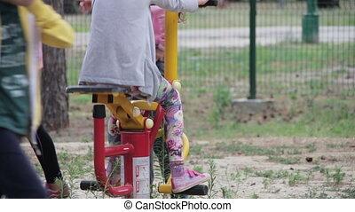 Children's Fitness Equipment on the Street. Many children...