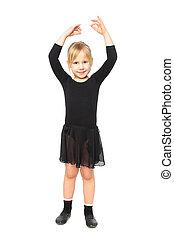 Children's fitness. Joyful girl doing aerobics