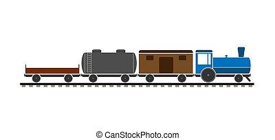 Children's freight train. Simple flat design.