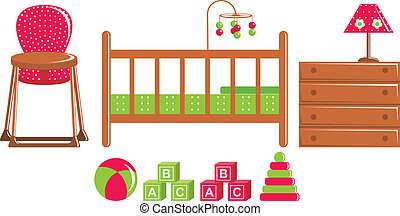 Children's furniture and toys - Vector illustration. It is ...