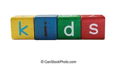 children\'s, gosses, lettres, bloc