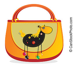 """Children's  Hand bag with sewn applique """"horse"""""""