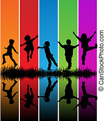 Childrens - Hand drawn children silhouettes over a rainbow...