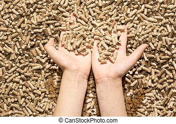 children`s hand with natural wood pellet - children`s hand...