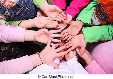 children\'s, handflächen, draufsicht