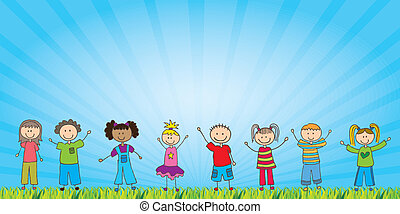 Childrens - happy childrens over natural background vector ...