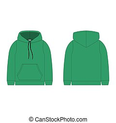 Children's hoodie in green color isolated on white background. Technical sketch hoody kids clothes.