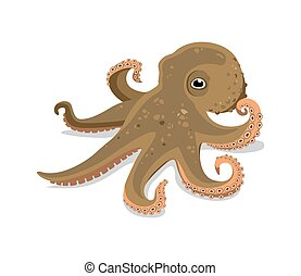 children's illustration of a funny octopus on a white background. vector drawing