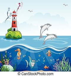 Children's illustration of the lighthouse and the sea dolphins