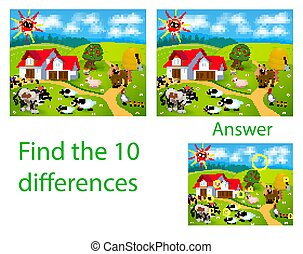 Children's illustration Visual puzzle: find ten differences...