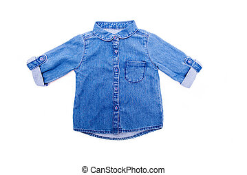 children's jeans shirt on a white isolated background