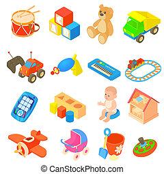 childrens, juguetes, iconos, conjunto, plano, estilo