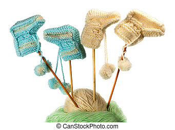 Children's knitted bootees