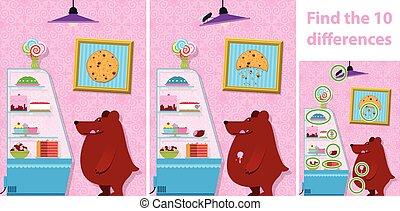 childrens, mancha, a, diferença, quebra-cabeça, de, um, urso