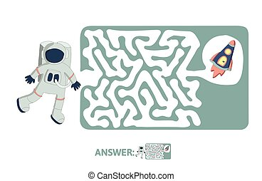 Children's maze with astronaut and rocket. Puzzle game for kids, vector labyrinth illustration.