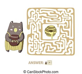 Children's maze with bear and honey. Puzzle game for kids, vector labyrinth illustration.