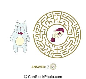Children's maze with cat and fish. Puzzle game for kids, vector labyrinth illustration.