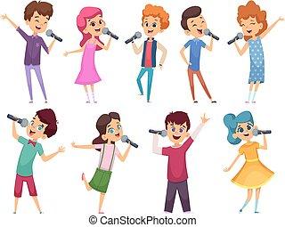 childrens., microphones, gosses, talent, debout, vecteur, musique, dessins animés, femme, performance, mâle, chant, karaoke