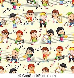 childrens, modèle, seamless, musique, jouer, heureux