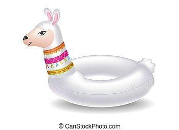 childrens, natación, alpaca, forma, círculo