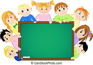 Childrens near the school board for education concept design