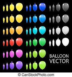 Children's party balloons colorful vector black background
