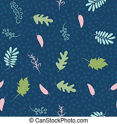 Childrens pattern leaves. Leaves seamless pattern. Soft pastel colors of the leaves in a modern style. On a blue background.