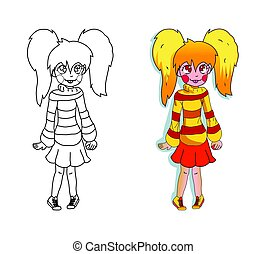 children's picture-coloring. vector. the girl in the bright sweater and red skirt
