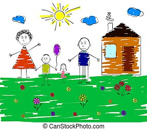 Children's picture of a happy family. Vector illustration