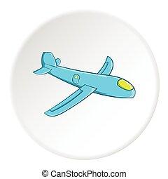 Childrens plane icon, cartoon style