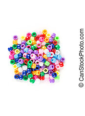 Children's plastic beads isolated on white background