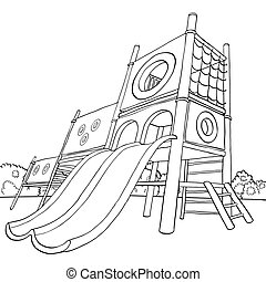 Childrens playground at public park or in the yard. Coloring book. ector illustration. Isolated on white background.